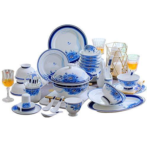 GAXQFEI Servizio da tavola in porcellana da 62 pezzi, set ...